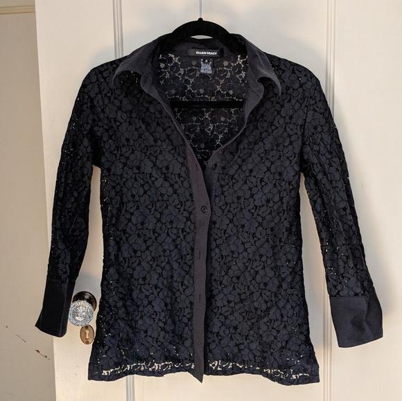 Ellen Tracy lace top blouse